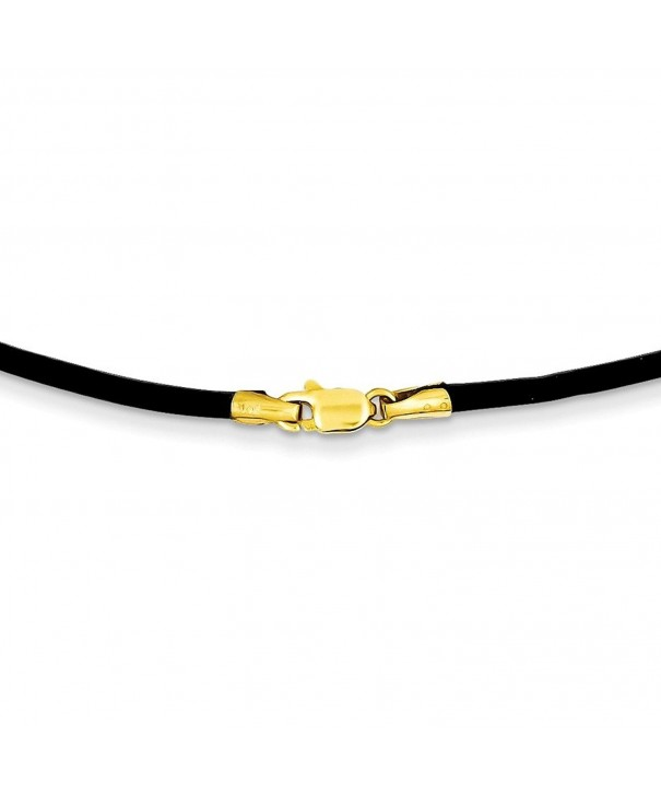 Gold Black Leather Necklace Inches