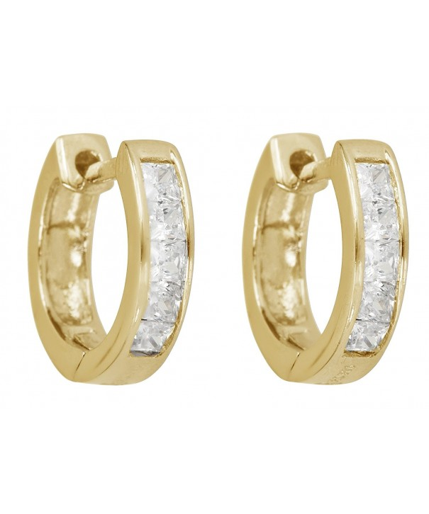 Sterling Zirconia Princess yellow gold sterling silver