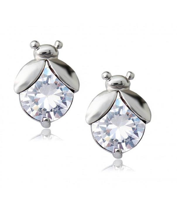 Ladybugs Earrings Zirconia Austrian Crystals