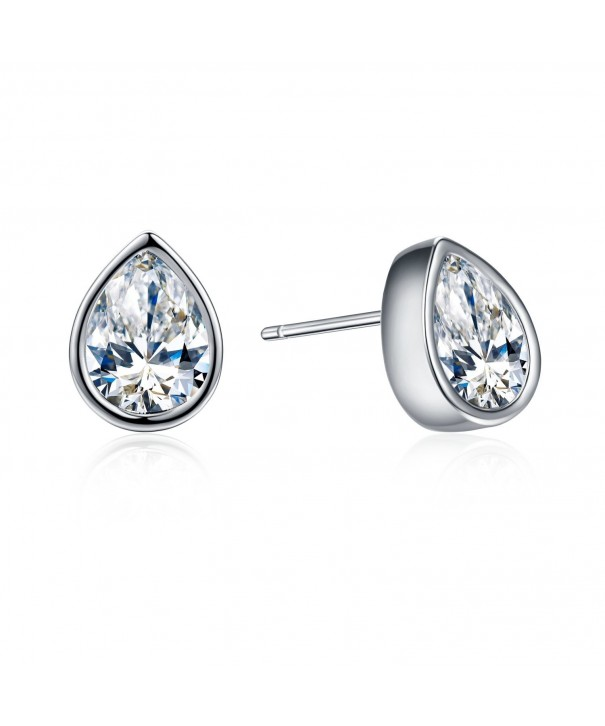SBLING Platinum Plated Teardrop Earrings Swarovski