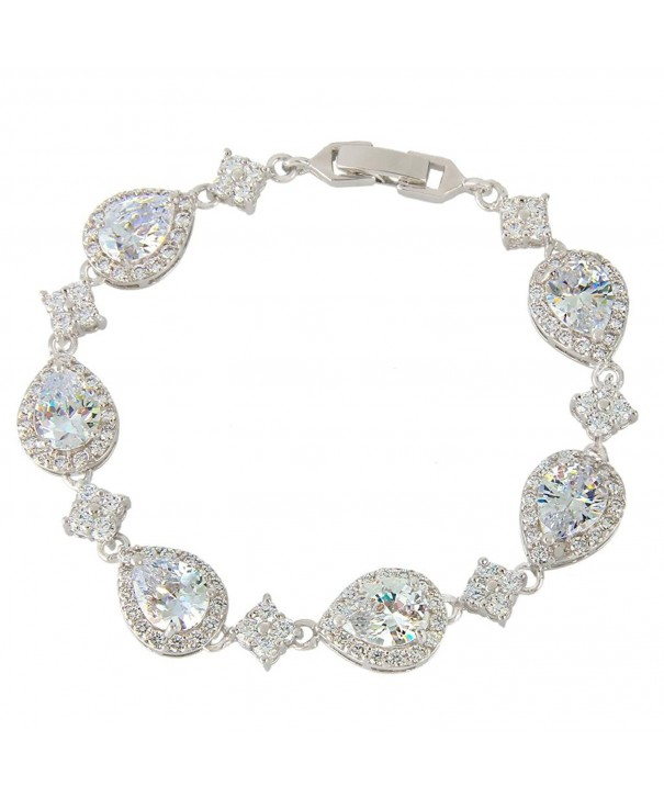 EVER FAITH Silver Tone Wedding Bracelet