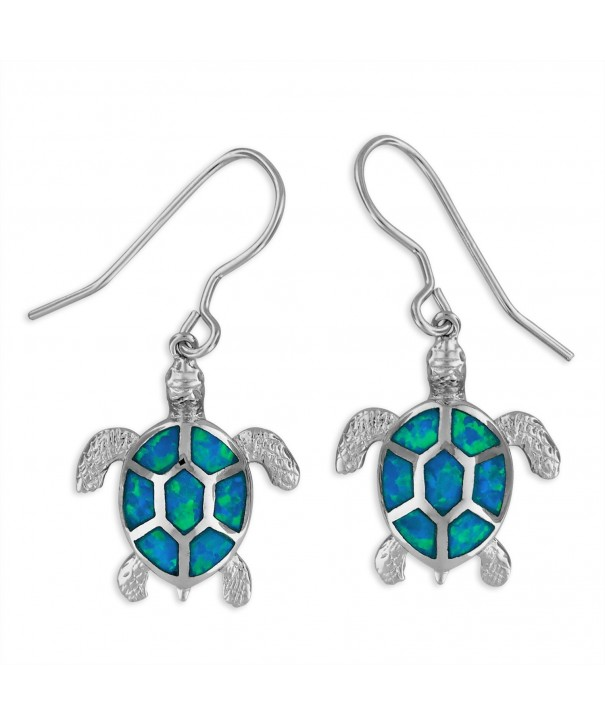 Sterling Silver Synthetic Turtle Earrings