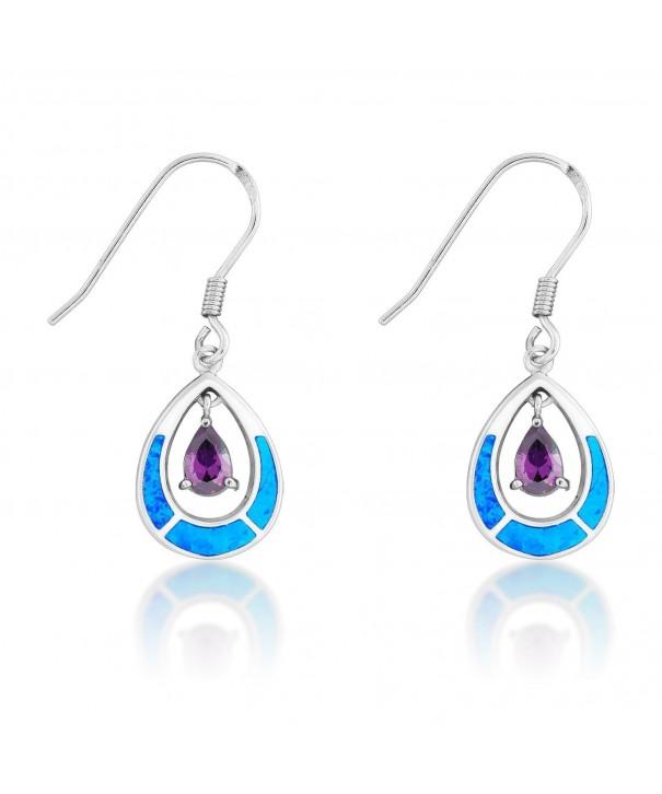 Sterling Silver Created Teardrop Earrings