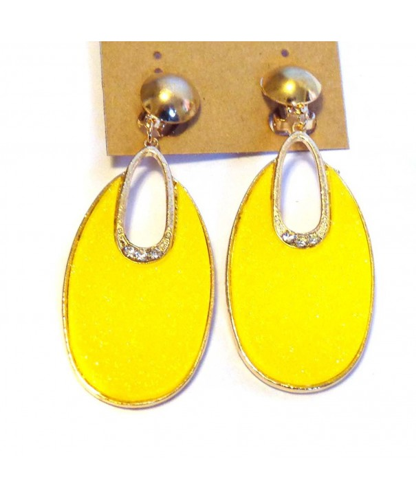 Clip Earrings Dangle Bright Yellow