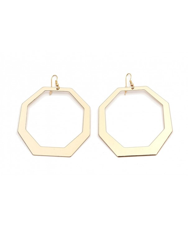 Large Gold Plated Earrings Geometric Dangle