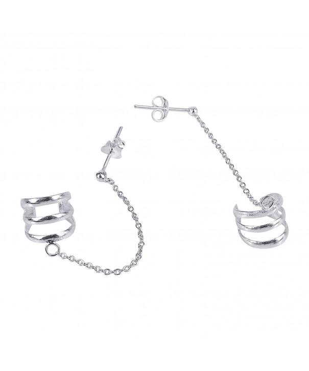 Triple Chain Sterling Silver Earrings
