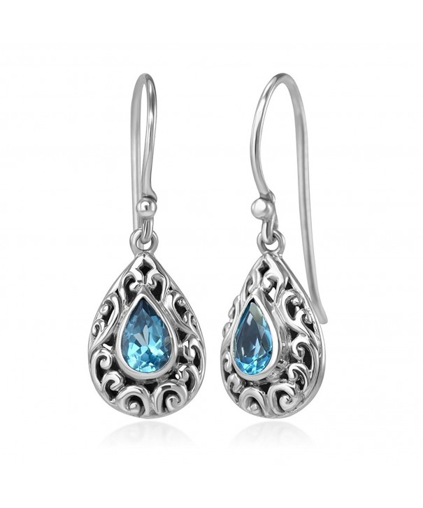 5e3d9dbd1 925 Sterling Silver Filigree Bali Inspired Blue Topaz Gemstone ...