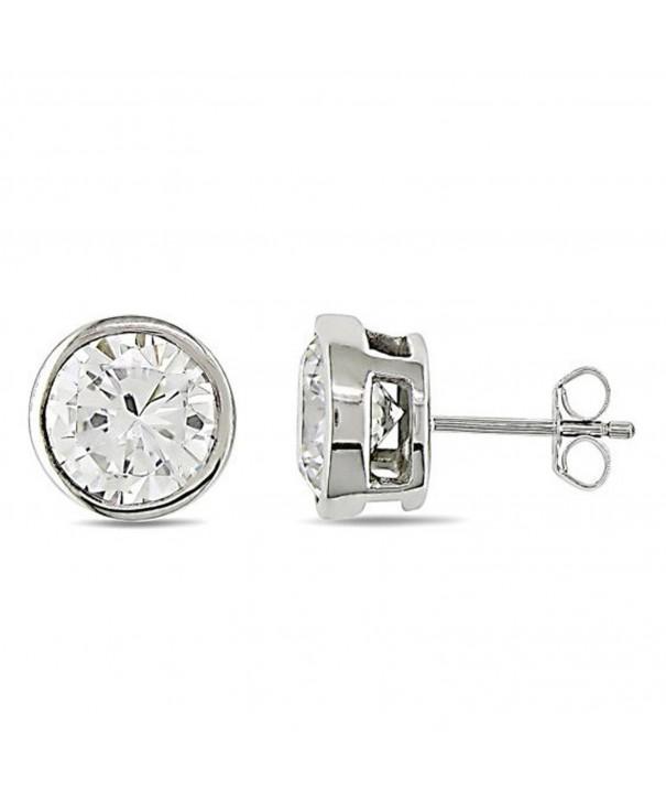 Bezel Solitaire Earrings Sterling Silver