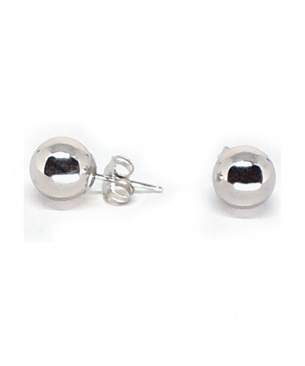 White Gold Round Polished Earrings