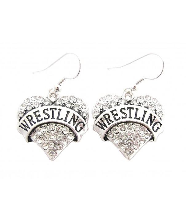Wrestling Silver Crystal Earrings Jewelry