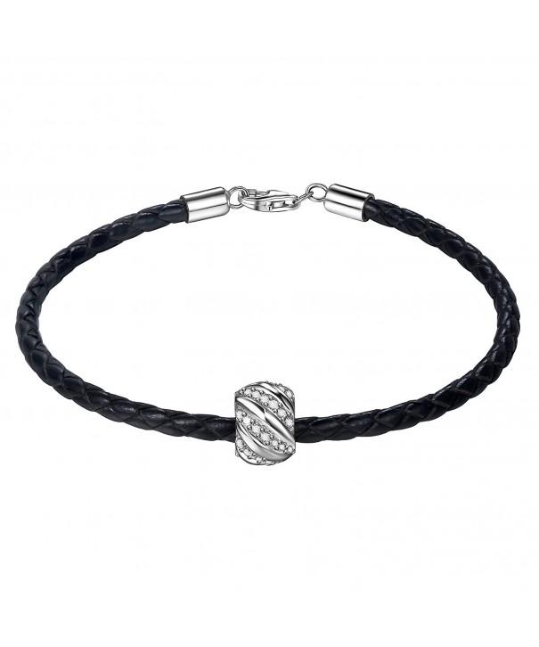 ZENI Leather Bracelet Sterling Zirconia