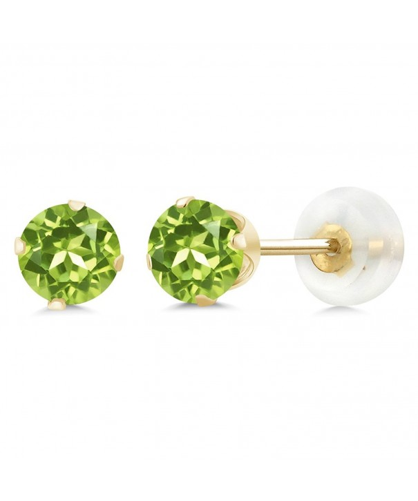 Peridot Gemstone Birthstone 4 prong Earrings