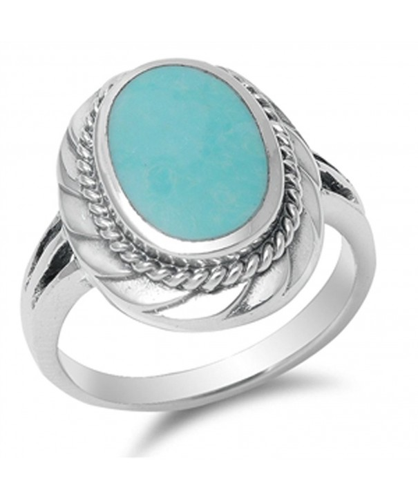 Design Simulated Turquoise Sterling Silver