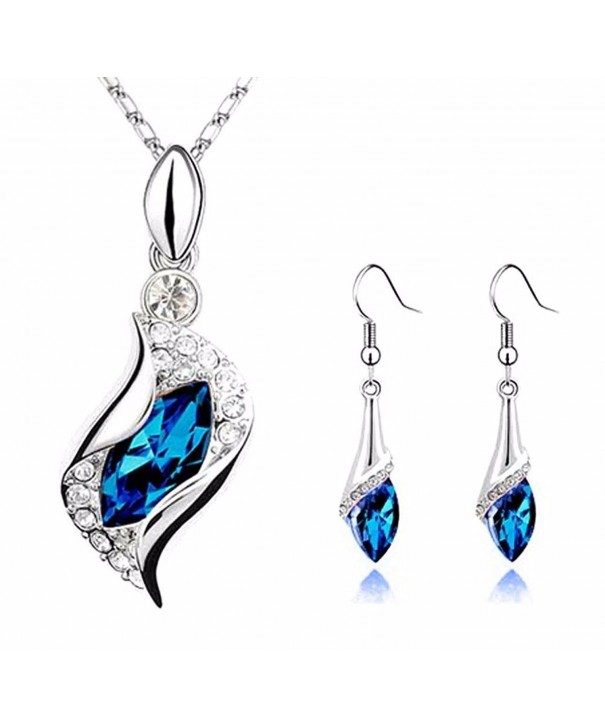 Pretty Sapphire Teardrop Earrings Necklace