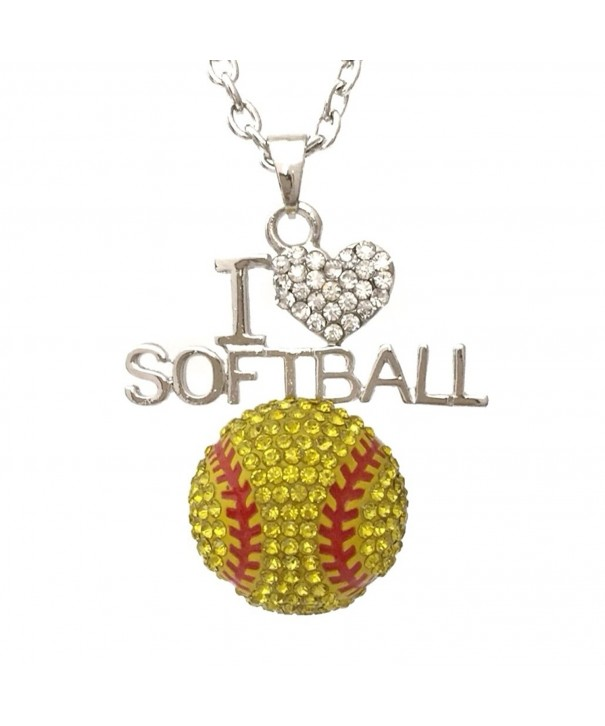 Softball Bling Rhinestone Silver Necklace