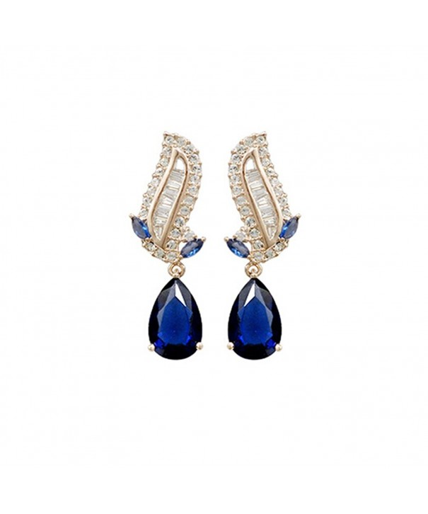 Gold Plated Teardrop Shaped Shire Blue Swarovski Elements Crystal Stud Earrings Fashion Jewelry For Women Cs121of914h