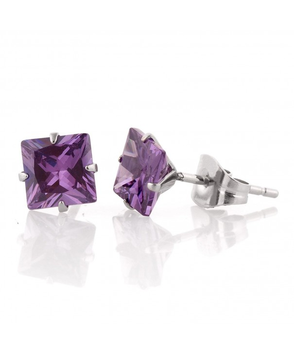 Square Simulated Purple Diamond Earrings