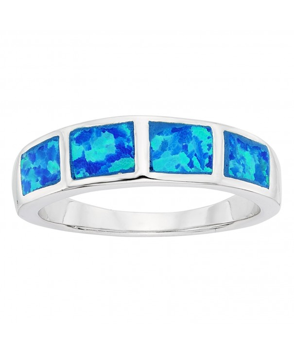 Sterling Silver Created Blue Opal