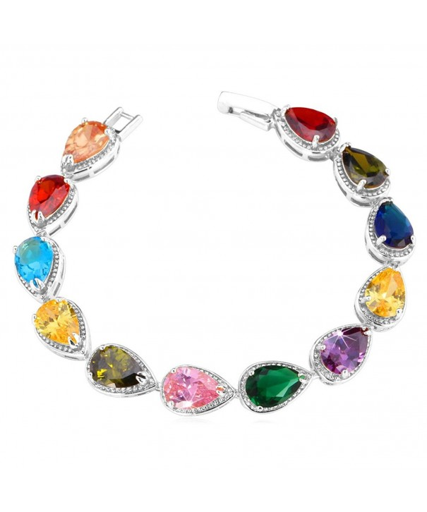U7 Colorful Zirconia Bracelet Platinum