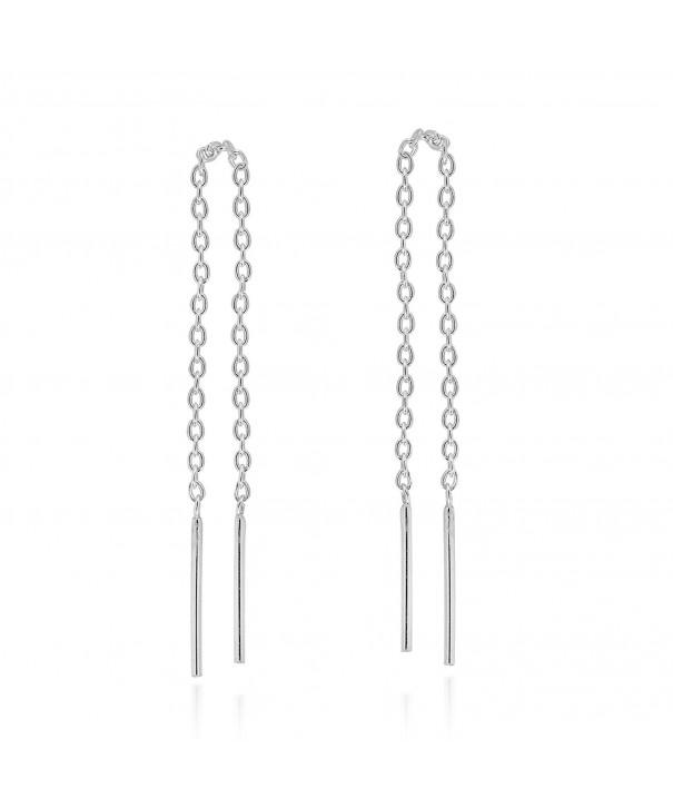 Thread Slide Through Sterling Silver Earrings