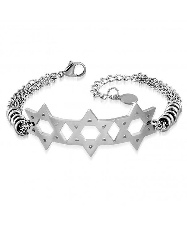 Stainless Silver Tone Triple Jewish Bracelet