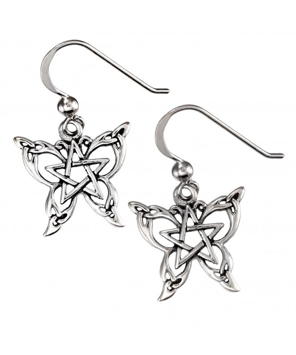 Sterling Butterfly Pentacle Pentagram Earrings