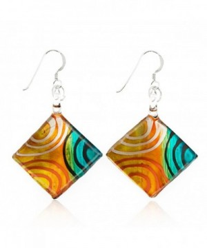 Sterling Painted Multi Colored Circles Earrings