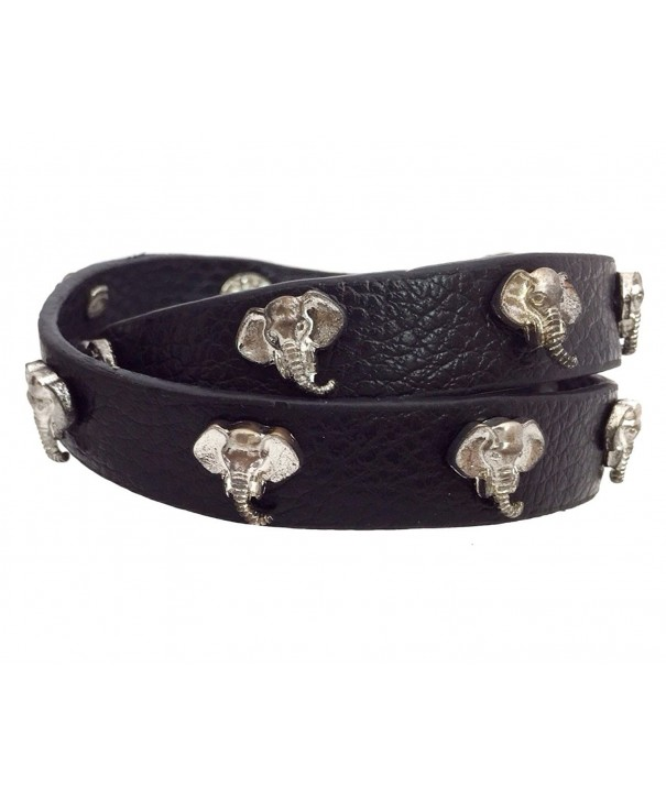 Leather Bracelet Elephant Alabama Crimson