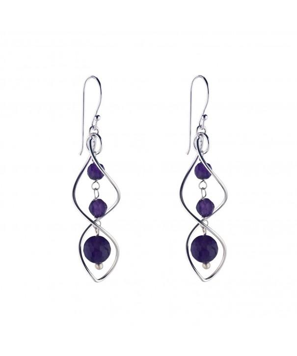 Silverly Sterling Amethyst Gemstone Earrings