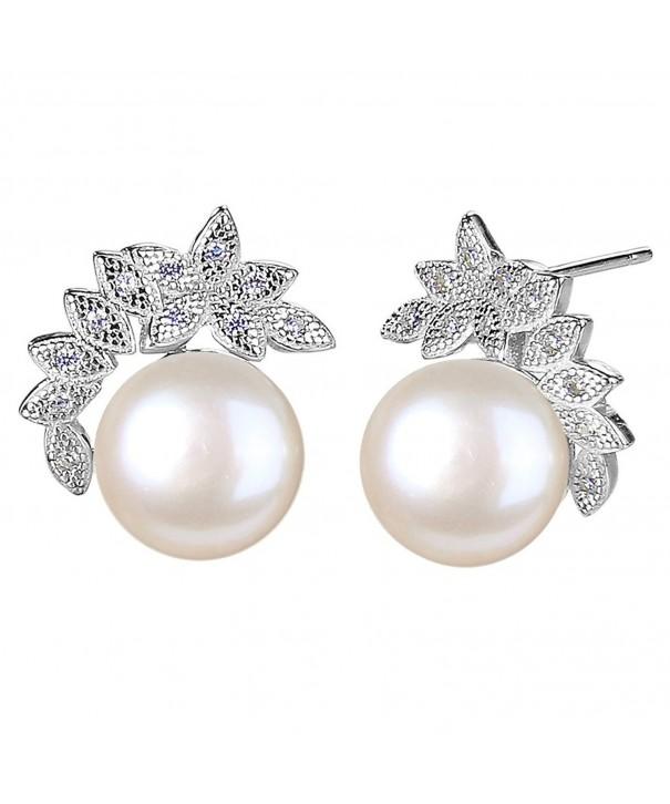 EleQueen Sterling Freshwater Cultured Earrings