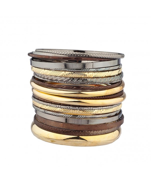 Lux Accessories Textured Multiple Bangle