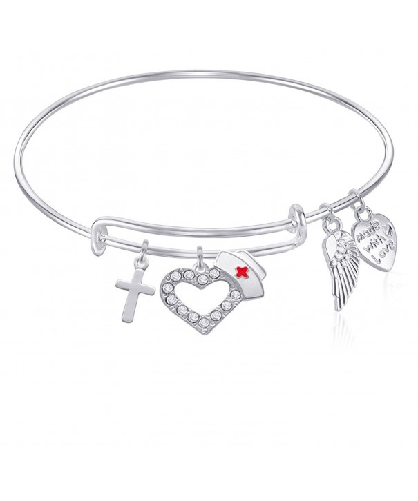 Expandable Bangle Bracelet Silver Finish