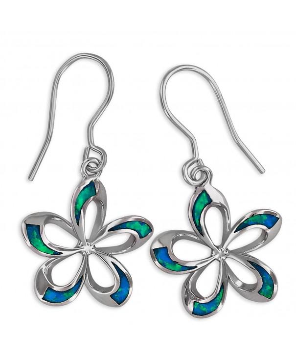 Sterling Silver Synthetic Plumeria Earrings