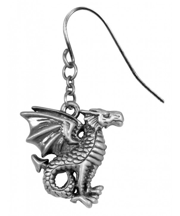 Silver Pewter Leviathan Dragon Earrings