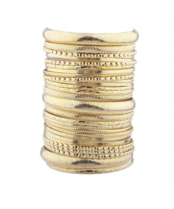 Lux Accessories Goldtone Textured Multiple Bracelet
