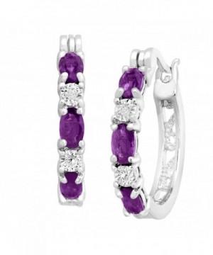 Platinum Plated Natural Amethyst Earrings Diamonds
