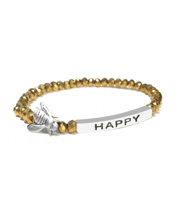 Happy Inspirational Bracelet Stacking Stretch