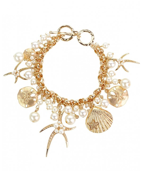 Starfish Seashell Simulated Bracelet Gold Tone