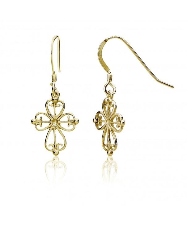 a2a557d08 Sterling Silver Celtic Filigree Cross Dangle Earrings - C6186EGD87L