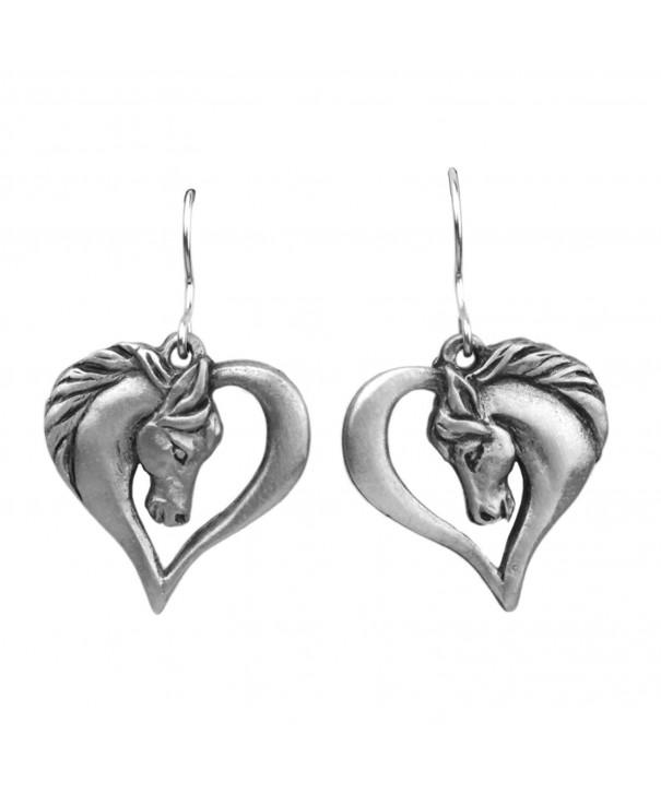 Horse Heart Fishhook Earrings Pewter