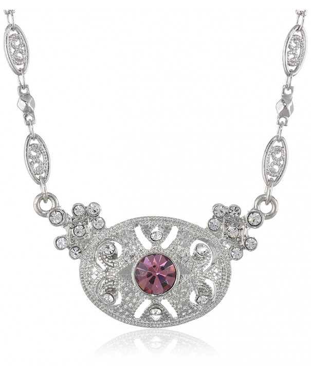 Downton Abbey Silver Tone Amethyst Necklace
