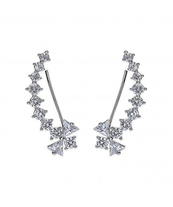 Glitzs Jewels 925 Sterling Silver Cubic Zirconia CZ Stud Earrings for Women Square Casting Clear 5mm