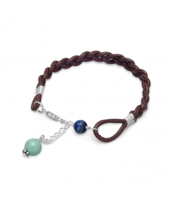 Sterling Braided Leather Bracelet Turquoise