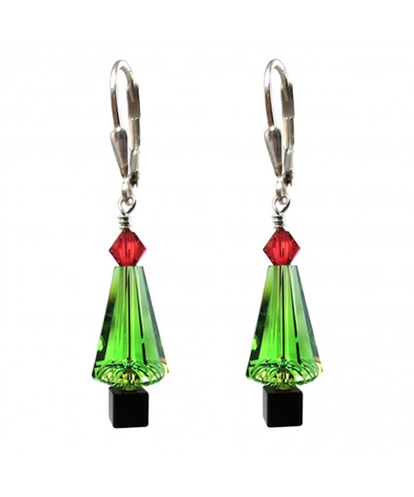 Christmas Earrings Swarovski elements Leverback