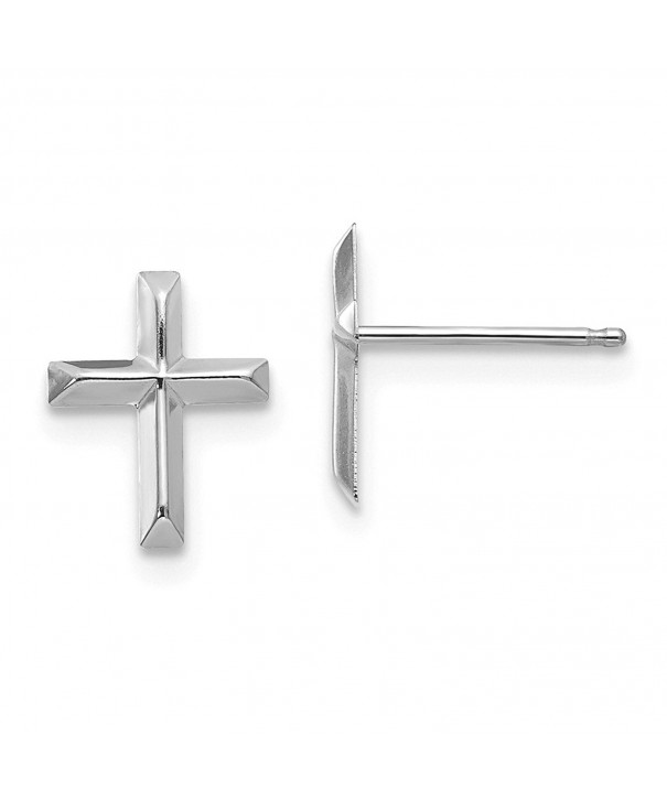 White Gold Cross Post Earrings