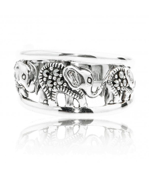 Oxidized Sterling Swarovski Marcasite Elephants