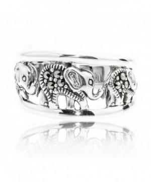 Oxidized Sterling Swarovski Marcasite Elephants