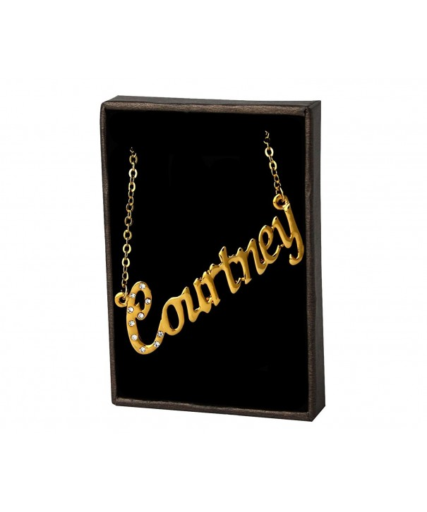 Name Necklace Courtney Yellow Plated