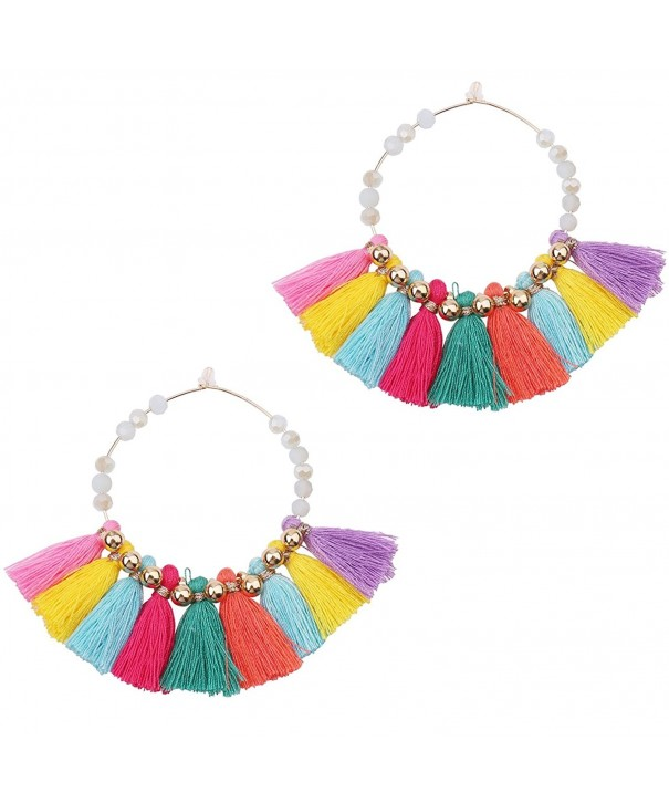 Statement Tassel Earrings Crystal multi color