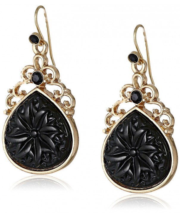 1928 Jewelry Gold Tone Pear Shaped Earrings